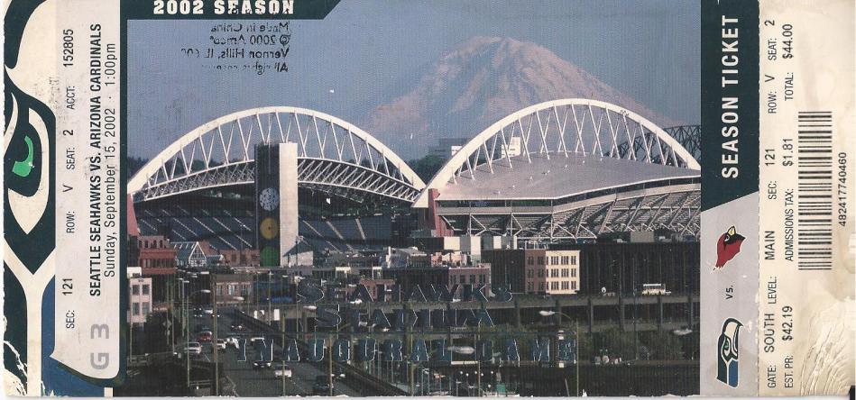 2002 Stadium Inaugural Game Ticket